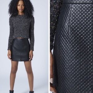 Top shop nwot black leather quilted mini skirt
